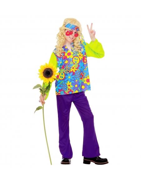 Hippie garçon multicolore (chemise, pantalon, bandeau, collier)