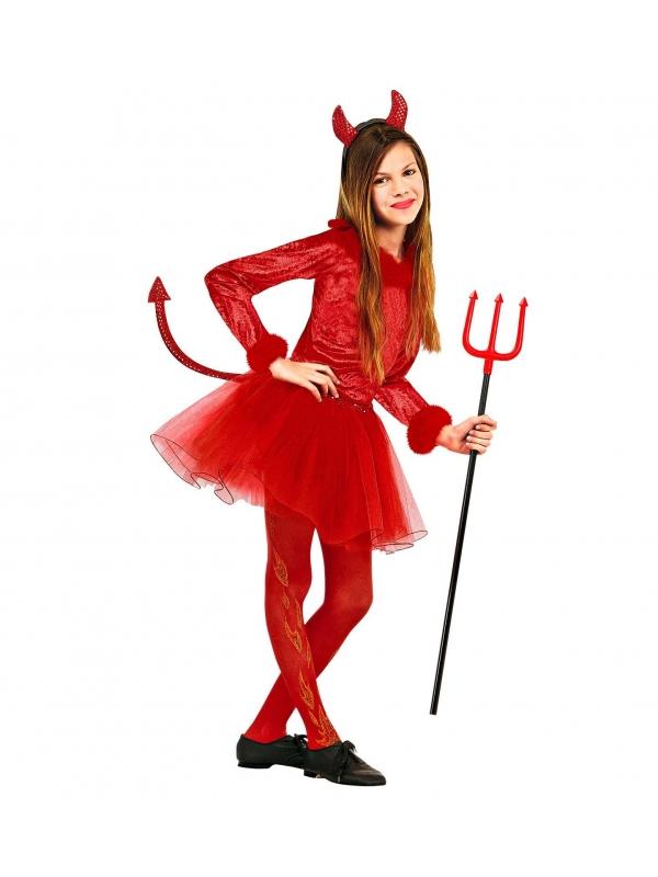 Déguisement Diablesse rouge (body avec plumes, jupe avec queue en paillettes, cornes en paillettes)