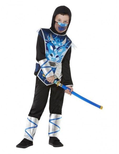 Déguisement de Ninja, Garçon, Bleu (Haut, pantalon et épée)