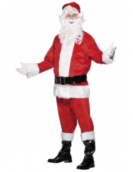 Déguisement Père Noël Deluxe (veste, pantalon, ceinture, bonnet, barbe et couvre-bottes) | Déguisement Homme